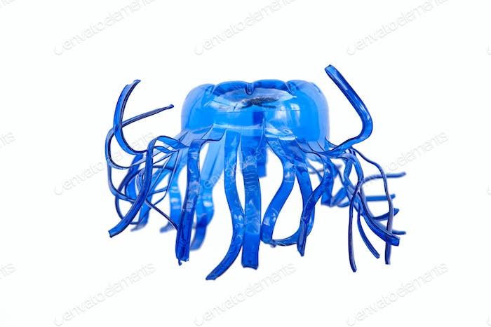 Plastic bottle recycled in a jellyfish figure. Reuse garbabe. Isolated