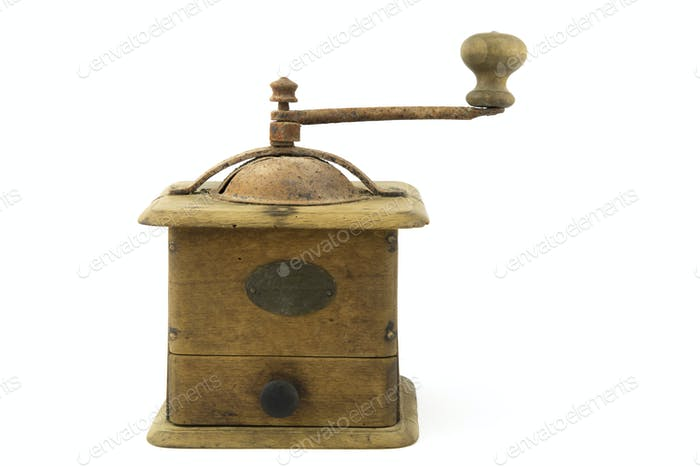 vintage - old coffee grinder isolated