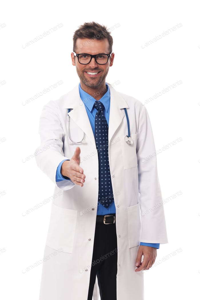 Smiling doctor offering handshake