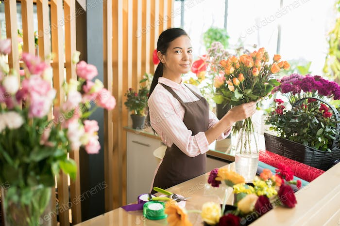 Girl making bouquet