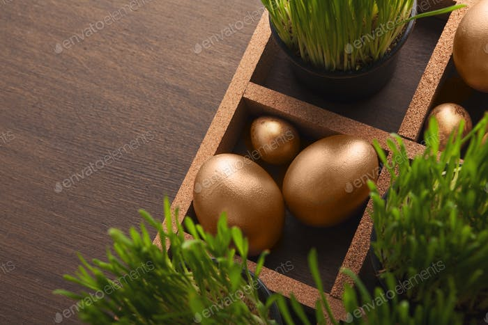Golden eggs and green grass on brown table