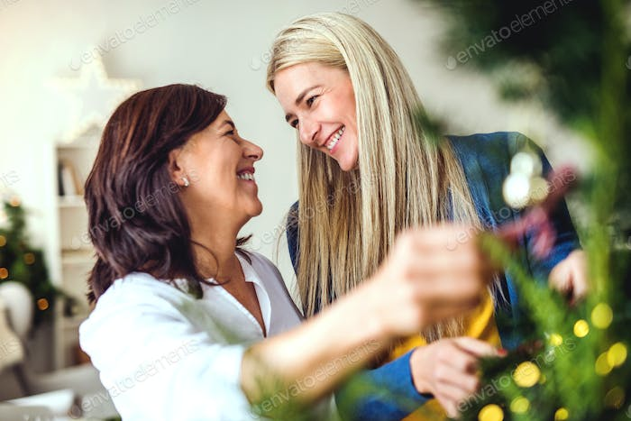 A senior woman with adult daughter standing by Christmas tree at home.