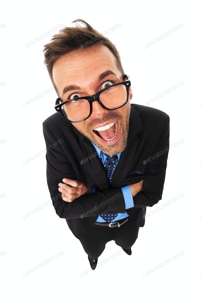 Портрет смешного бизнесмена