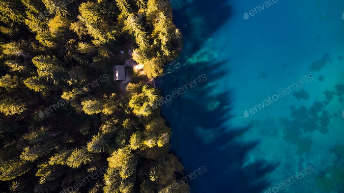 Autumn Forest and Blue Lake Top Down Aerial Drone View. Small Hu