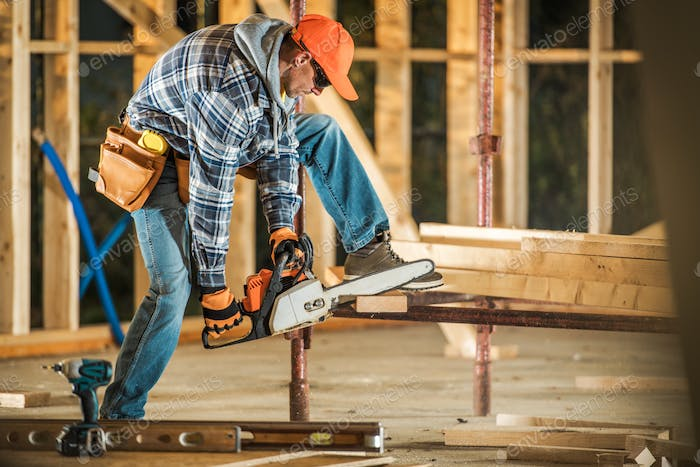 Contractor with Chainsaw