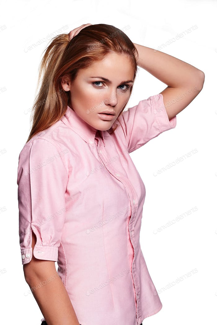 glamor portrait of beautiful sexy  Caucasian young stylish woman model in casual cloth