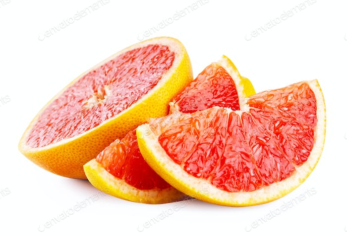 Cut slices of ripe grapefruit