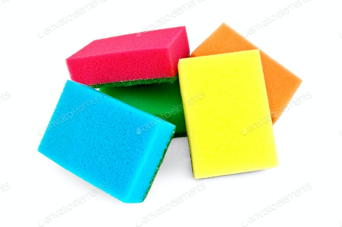 A pile of colorful sponges