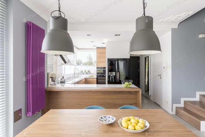 Fully-equipped modern kitchen interior