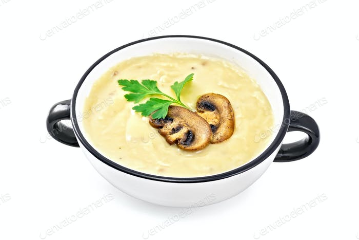 Soup-puree mushroom in bowl