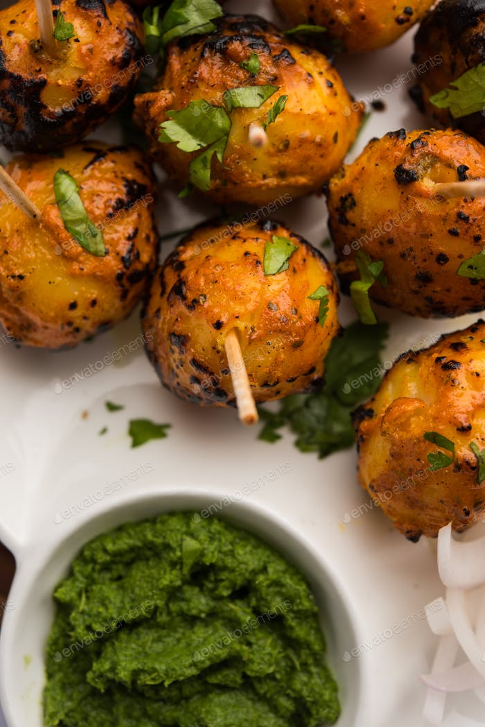 Roasted potatoes known as Tandoori Aloo in India