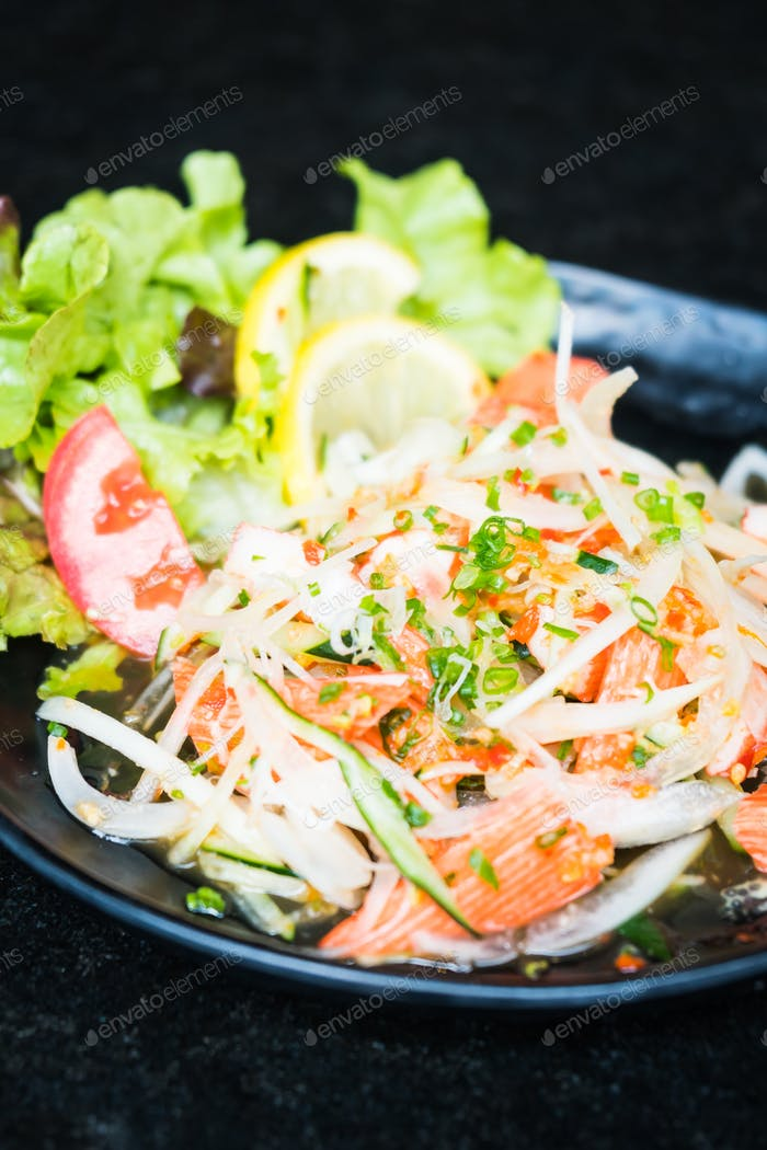 Spicy crab stick salad