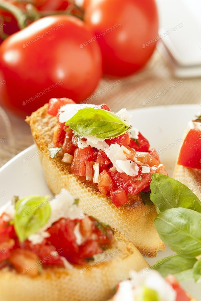 Homemade Tomato and Basil Bruschetta