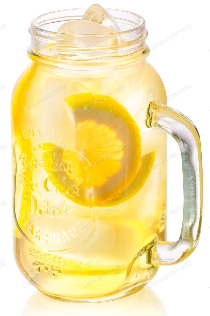 Iced lemonade in mason jar, paths