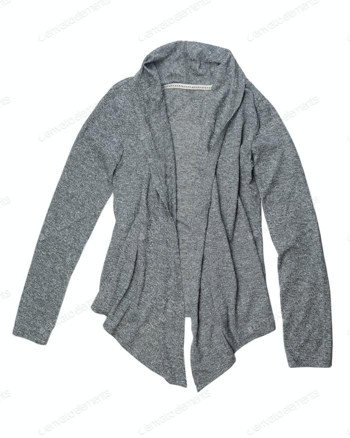 Modische graue Strickjacke aus Wolle.