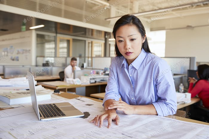 Female Asian architect studying planes in open plan office