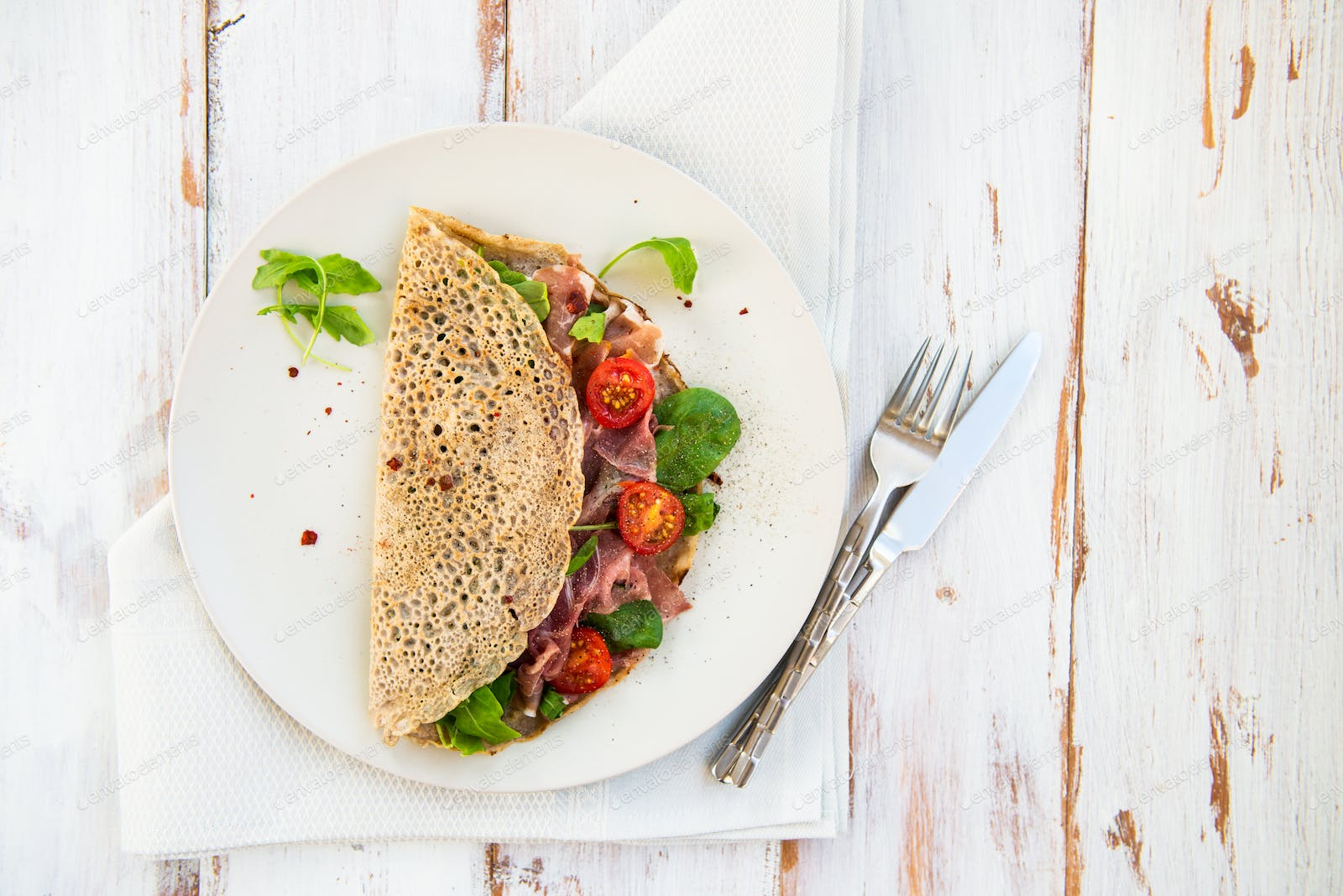 Buckwheat Pancakes With Cherry Tomatoes Rocket Salad Spinach Parma Ham Photo By Manuta On Envato Elements