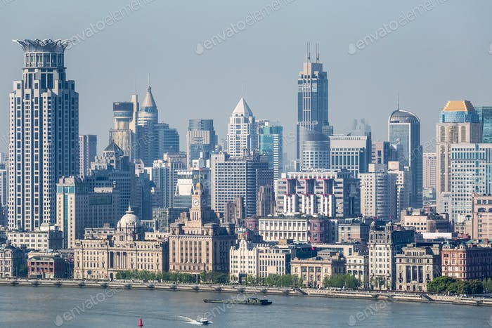 scenery along huangpu river in shanghai, aerial view of the bund