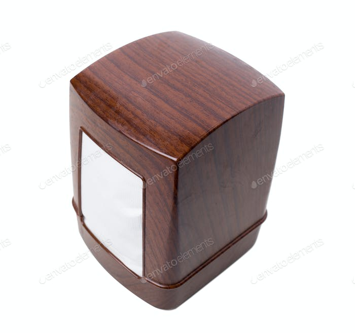 Plastic napkin holder with wooden pattern.