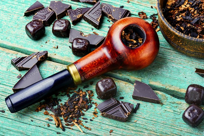 Chocolate flavored tobacco pipe.