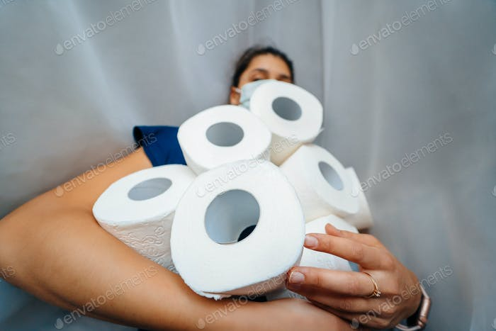 People are stocking up toilet paper for home quarantine from coronavirus