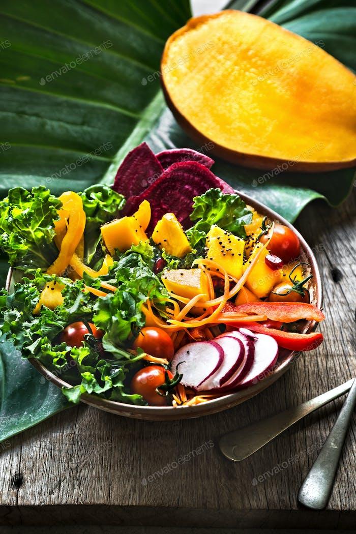 Mango with Kale,Radish and Pomegranate salad bowl