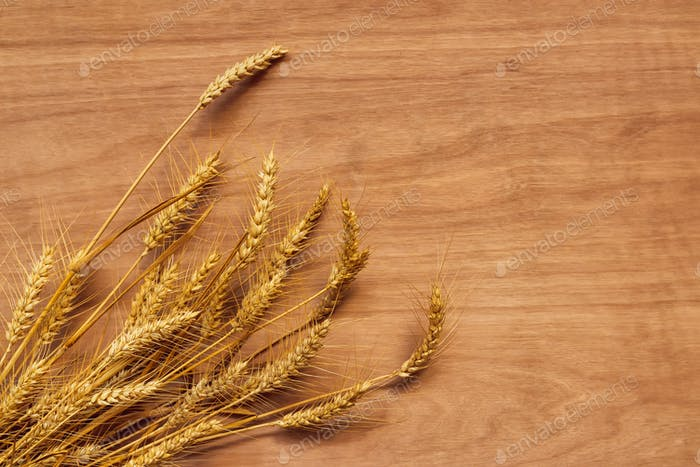Rye wheat ears on plywood background