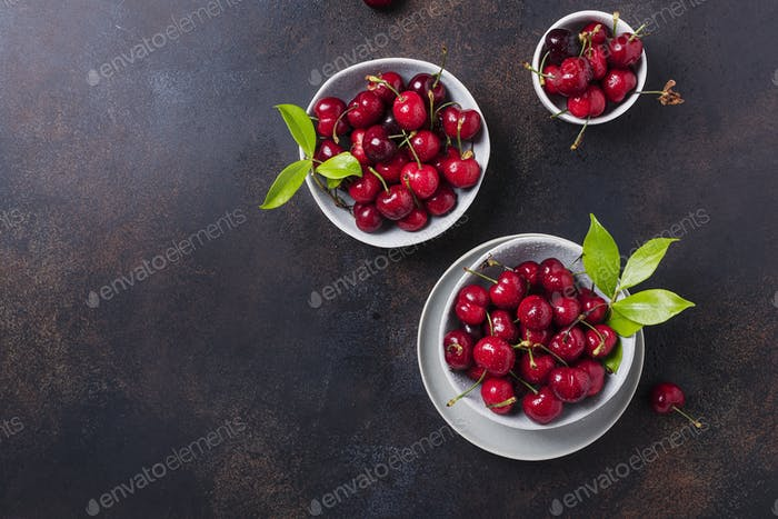 Top view of sweet fresh cherry