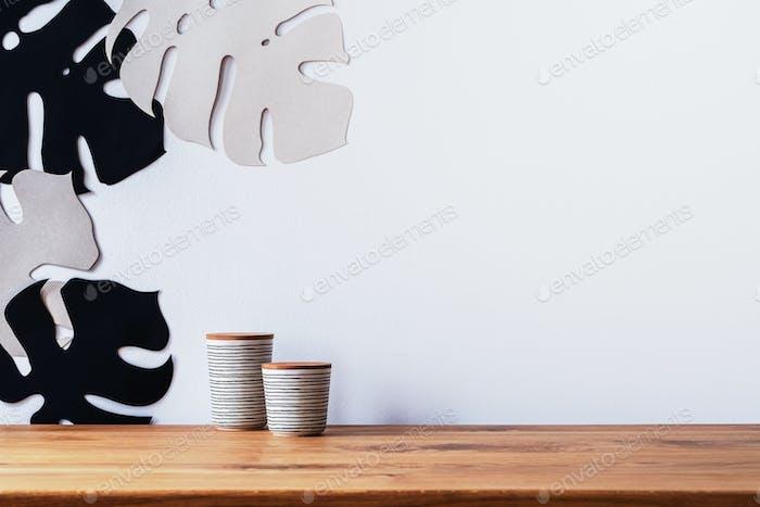 Ceramic cups and leaf stencils