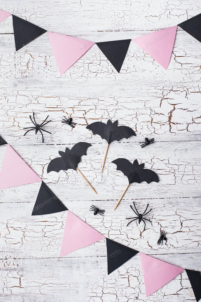 Pink and black decoration for Halloween