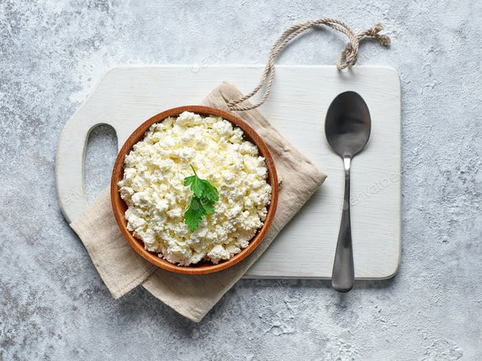 bowl of fresh cottage cheese