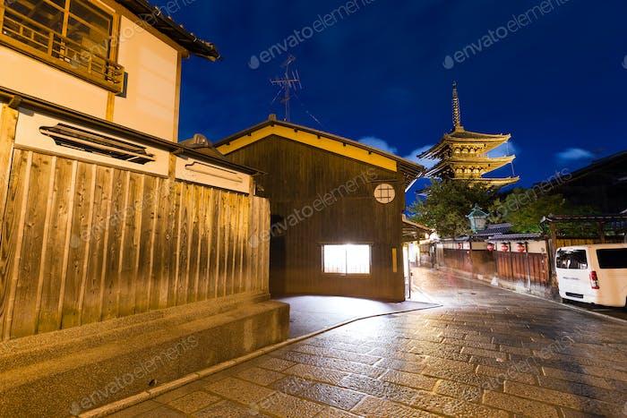 Yasaka Pagoda in Japan at night