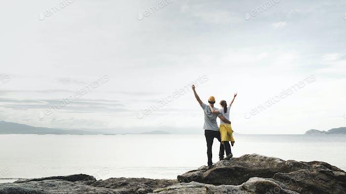 Happy couple travelling