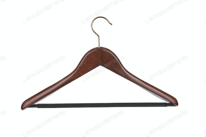 Hanger. Wood coat hanger on the background