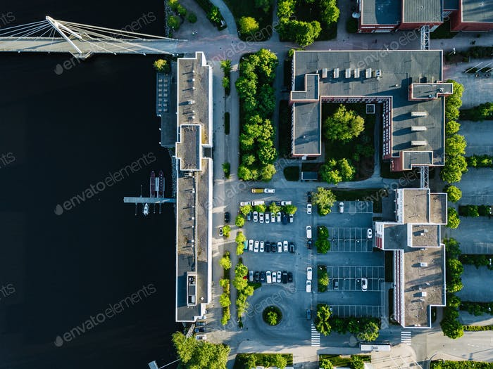 Aerial view of city buildings with car parking. University of Jyvaskyla in Finland