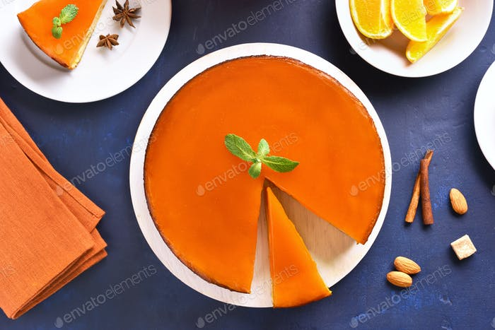 Healthy pumpkin and orange pie