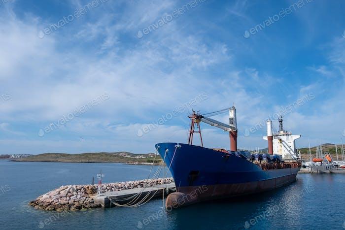 Old oil tanker moored at harbor Lavrion, Attica, Greece