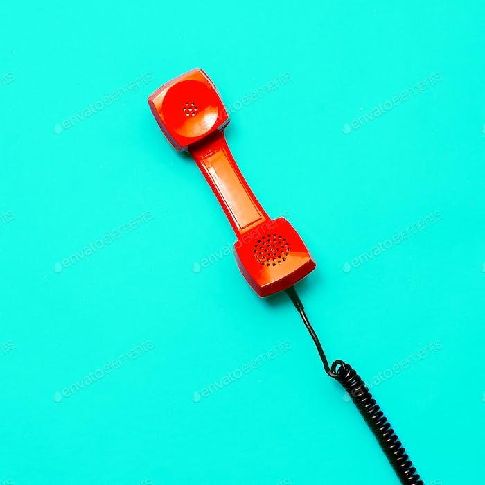 Retro phone. Minimal design art