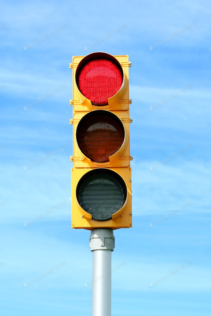 Red traffic signal light