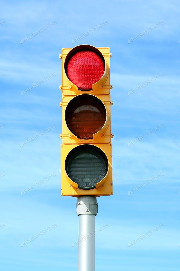 Red traffic signal light
