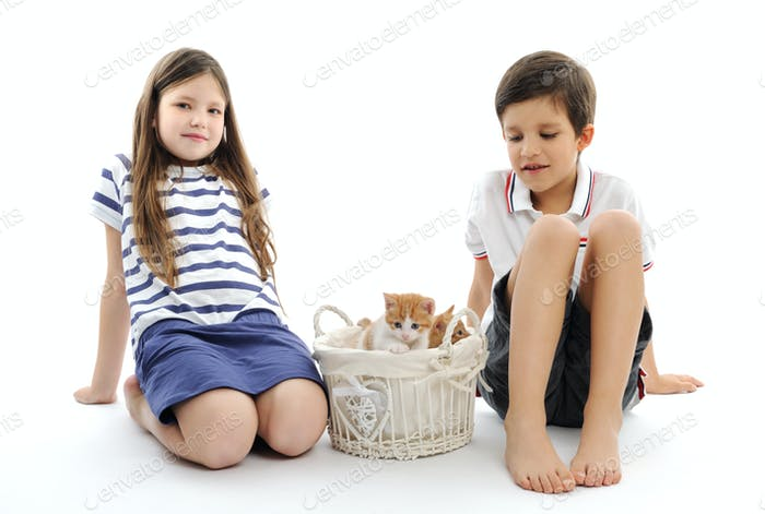 children with kittens