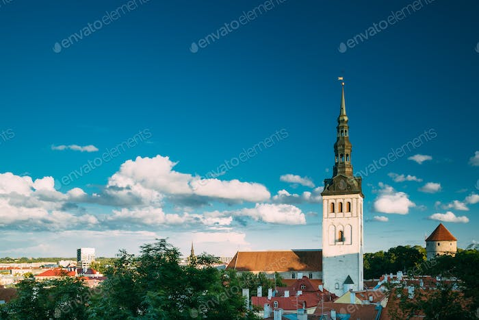 Tallinn, Estonia, Europe. Old Town Cityscape In Sunny Summer Evening. Popular Place With Famous