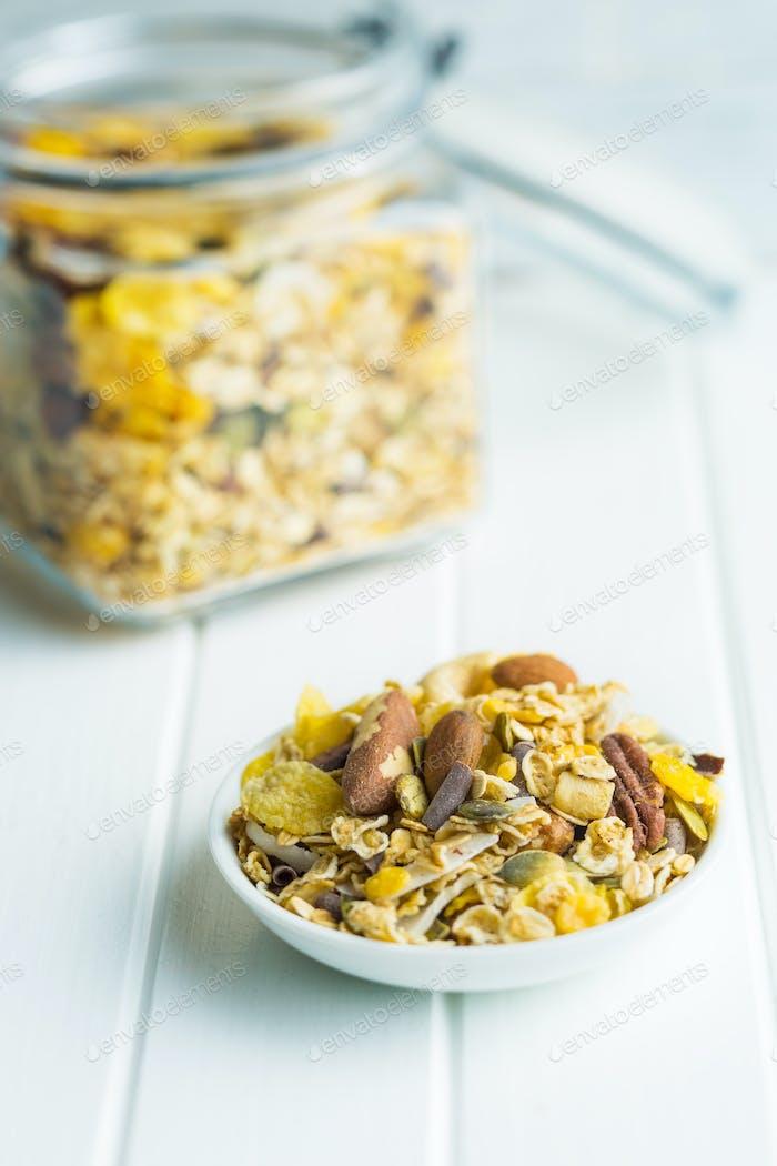 Tasty homemade muesli with nuts.
