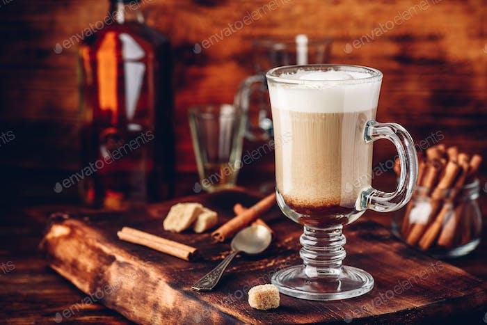 Irish coffee with cinnamon