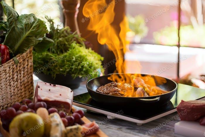 Flames in frying pan