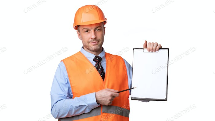 Professional Builder Offering Sign Labor Contract Showing Folder, White Background