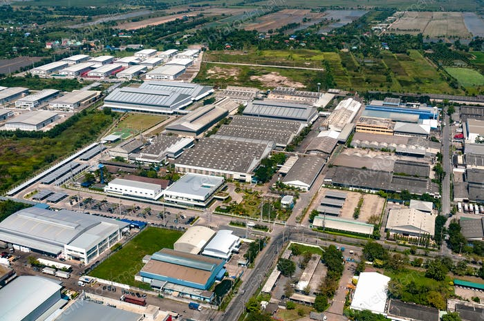 Industrial estate factories manufactures and housing projects