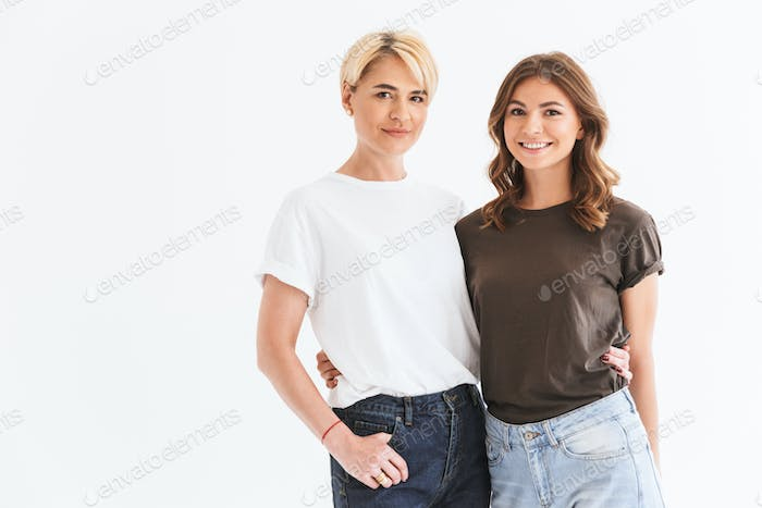 Portrait of two european women adult mother and teenage daughter