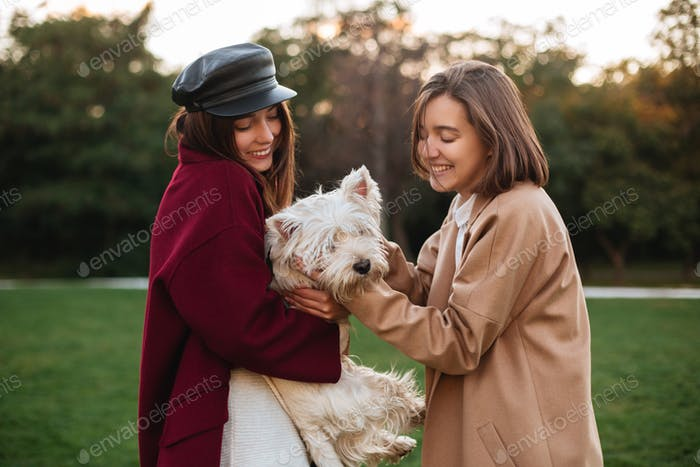 Beautiful smiling ladies standing in park and playing with their cute small dog