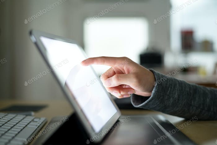 Woman use of digital tablet pc